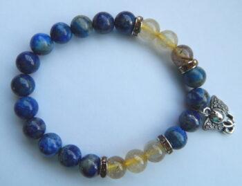 Lapis lazuli/rutielkwarts armband Ganesha
